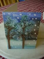 NEW Christmas/Holiday Card, Tree Winter Scene, Happy Holidays Greeting,by Artist