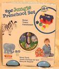 NEW 2 Piece Jungle Preschool Toy Set Shape Sorter Block Clock 20 Piece 18 month