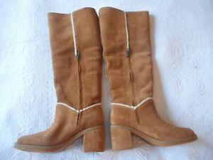 Ugg Net A Porter Kasen Tall Chestnut Suede Sheepskin Boots UK 5 38 BRAND NEW