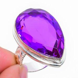 Pink Amethyst Ethnic Handmade Gemstone Gift Jewelry Ring Size 10 VK-12695