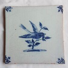 Antique Delft Wall Tile Bird blue white delftware