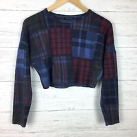 Topshop Women's Blue and Burgundy Plaid Crop Top Knit Long Sleeve Size 2