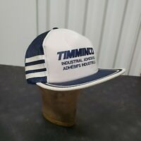 VTG 80's 3 Stripe Snapback Mesh Trucker Hat Cap Blue White Timminco Industrial
