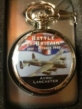AVRO LANCASTER BATTLE OF BRITAIN POCKET WATCH inc CHAIN BOX  WITH 1 YR GUARANTEE