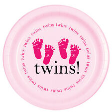 Pink Baby Girl Shower Party TWINS! FOOTPRINTS LUNCH DINNER PLATES
