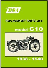 BSA Parts Manual C10 1938 1939 and 1940 Replacement Spares Catalog List