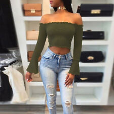 Womens Sexy Ladies Off The Shoulder Long Sleeve Ribbed Crop Top Blouse T Shirt
