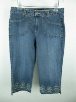 Gloria Vanderbilt Women sz 10 Cotton Floral Embroidered Blue Capri Cropped Jeans