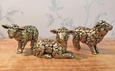 Small Rustic Gold Sheep Decorative Ornaments ~ Set of 3 7BR129