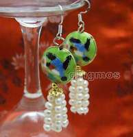 SALE 4-5mm White Round Natural Pearl & 18mm Green Cloisonne Dangle earring-ea524
