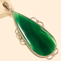 Natural Algeria Green onyx Pendant 925 Sterling Silver Statement Jewelry Gifts