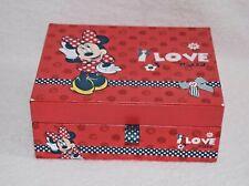 Disney Minnie Mouse Jewellery Box I Love Minnie Red Rare Kids Case