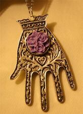 Lovely Victorian-Inspired Steampunk Violet Flowers Hand Glove Pendant Necklace