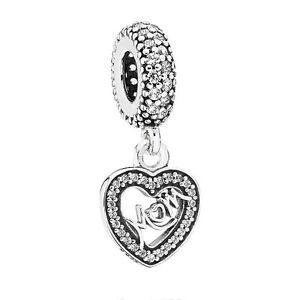 Genuine Pandora Silver Cubic Zirconia Mum Heart Dropper 791521CZ