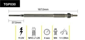 Tridon Glow Plug TGP030 fits Toyota Hilux Surf 3.0 TDiC (KZN130/KZN185), 3.0 ...