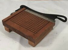 Vintage Miniature Japan Wooden Guillotine Style Paper Cutter Trimmer Shps Free