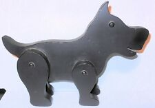 """Vintage Wooden Black Scottie Dog with Movable Legs Toy, 10.5"""" by 8"""""""