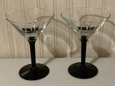 Pair of Fris Vodka Black Stemmed Martini Glasses.