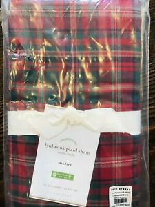 Pottery Barn Lynbrook Plaid Pillow Sham Cover Standard Red Christmas Lodge Green