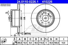 2x Bremsscheibe für Bremsanlage Hinterachse ATE 24.0110-0226.1
