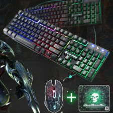 T6 Gaming Keyboard and Mouse Set for PC Laptop Rainbow Backlight Usb Ergonomic