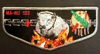 OA MA-NU LODGE 133 LAST FRONTIER COUNCIL OK BSA WHITE BUFFALO GREY SERVICE FLAP