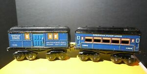 American Flyer Prewar 1205 Post Car and 1306 Passenger Car In Blue O Ga Nice
