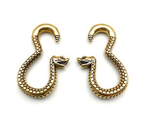 Gold Surgical Steel Snake Hanger Ear Weights Fits sizes 6mm+