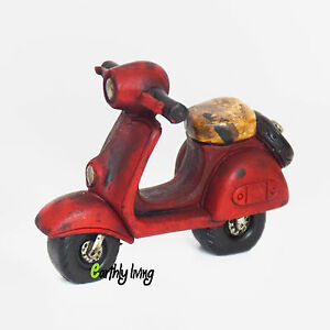 Classic Step Through Mini Red Motorcycle Miniature Model Collectibles Keepsake