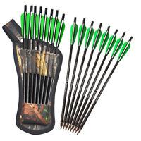 "8pcs Crossbow Arrows Carbon Bolts with Arrow quiver Archery 16"" 17"" 18"" 20"" 22"""