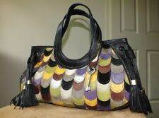 Fossil fifty four black genuine leather patchwork handbag tote