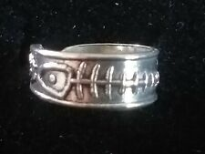 Fish Bone Toe Ring Solid Sterling Silver 925 Adjustable