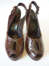 Vintage 1940s Peep Toe Platform Alligator Shoes 6.5N Chunky Du Val Debs Wwii