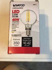 SATCO S9871 Energy Saving LED Globe Light Bulb 3.5W Clear Candelabra Base 2700K