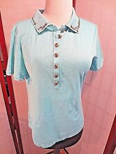 St. John Sport Blue Cotton Short Sleeves Solid Polo Style Studs Top Sz S