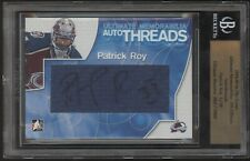 2004-05 ITG Ultimate Patrick Roy Auto Threads Jersey Swatch Autograph 1/10