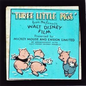Three Little Pigs 1930s Boxed Set of 24 Magic Lantern Slides Walt Disney