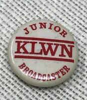 Vintage KLWN Junior Broadcaster Pinback Button Lawrence Kansas Advertising