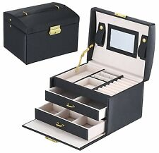 Mens/womens Black Leather Jewelry Box 6 Watch Organizer Storage Case Lock Mirror