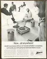 1968 Zenith Moderne Circle of Sound Modular Stereo PRINT AD Now Sit Anywhere