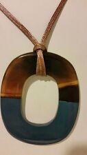 Gorgeous designer buffalo horn blue pendant necklace