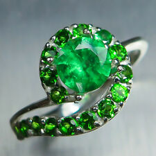 0.85ct Natural tsavorite garnets green &chrome diopside Sterling 925 Silver ring