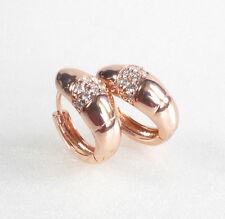 Men Women Unisex Clear CZ Cubic Rose Gold Plated 14mm Hoop Huggie Earrings