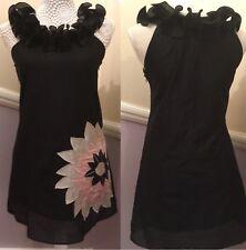 TSEGA 8/10 (S) Ruffle Neckline Tunic Style Dress With Sequin Flower Detail Black