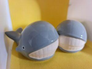 Pair of Ceramic Whales Bathroom Ornaments
