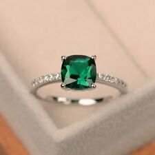 Women Fashion  Silver Rings Jewelry Emerald Wedding Engagement Ring Size 10