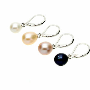 Leverback Pearl Drop Earrings Freshwater Pearls Sterling Silver Gift Boxed