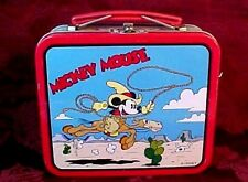 "MICKEY MOUSE DISNEY TIN LUNCH BOX COWBOY #20 A.S.C. PA. 5 1/2"" X 4 3/4"" X 2 1/4"""