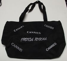 VG++ Pre-Owned Black French Riviera Cannes Zippered Tote Travel Bag 14x13x6  F