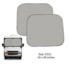 "New 2 Panels RVs Class A Truck Windshield Magic Sun Shade SunShade 42""x48"" XXXL"